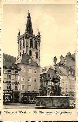 TRIER a.d. Mosel alte Postkarte um 1930 Markt Brunnen Turm-Gebäude Geschäfte