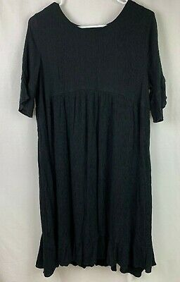 Womens Isabel Maternity Dress Size Medium Black Short Sleeve Baby Doll -