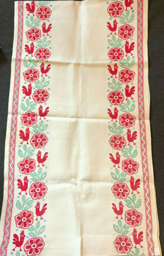 Vintage Linen Runner with Floral Design - Chickens and Geometric Printed Border