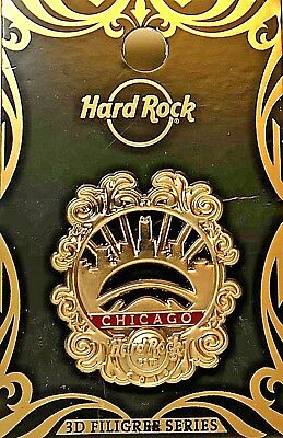 Hard Rock Cafe Chicago Pin Gold Filigree Series 3D 2018 CloudGate New LE # 98946