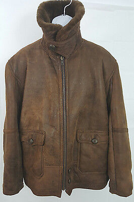 Men's Shearling Soft Leather Brown Bomber Jacket Sz 52 US Large Made in Italy for sale  Shipping to India