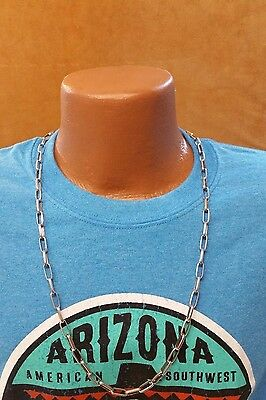 """Native American Handmade Navajo Chain Necklace - Stamped - 30"""" - Sterling Silver"""