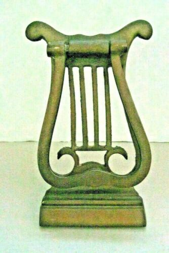 ORIGINAL VINTAGE ANTIQUE LARGE BRONZE DOOR KNOCKER MUSICIAL HARP WITH HARDWARE