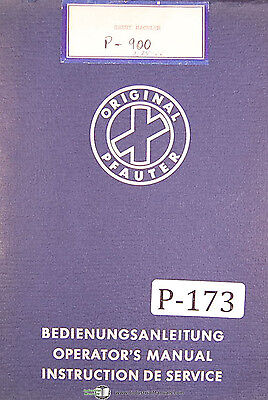 Pfauter Hermann P500 P900 Hobbing Machine Operations And Service Manual 1966