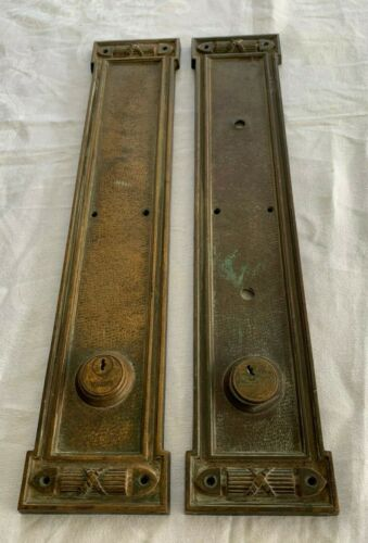 Laconia Large Pair Antique Bronze Door Back Push Plates Russwin Hardware heavy
