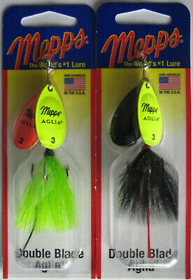 11//16 oz MEPPS Aglia Double Blade Spinners - Silver//Blue /& Rainbow Trout 2