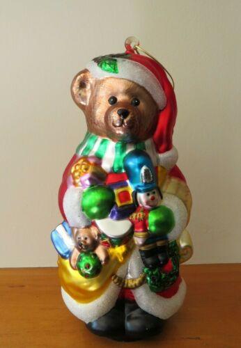 Glass Teddy Bear Christmas Ornament Glitter Santa, Large! 10 Inches!
