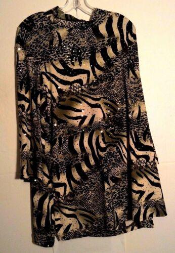 Susan Graver Womens Tunic Top Animal Print Green Sequins Size 2X