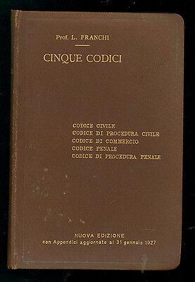 FRANCHI L. CINQUE CODICI MANUALI HOEPLI 1927 DIRITTO CIVILE PENALE COMMERCIO