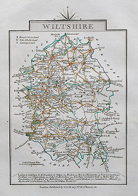 WILTSHIRE 1828 Miniature Antique Map by Cary Hand Coloured