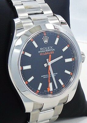ROLEX Milgauss 116400 Oyster Perpetual Black Dial Steel Watch *MINT CONDITION*