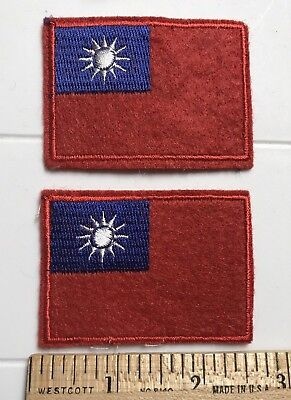 Lot of 2 Taiwan Republic of China Flag Taiwanese Embroidered Patches patch lot