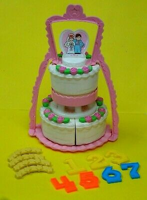Vintage 1987 Fisher Price Fun with Foods Create A Cake Set Complete-Wedding/Bday