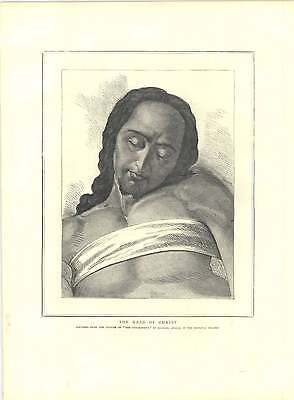 1871 Engravings Head Christ From Entombment Michelangelo