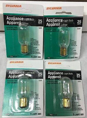 - Sylvania 25T8DC #18321 Appliance Microwave Light Bulb Ba15d Bayonet Base 4-pcs