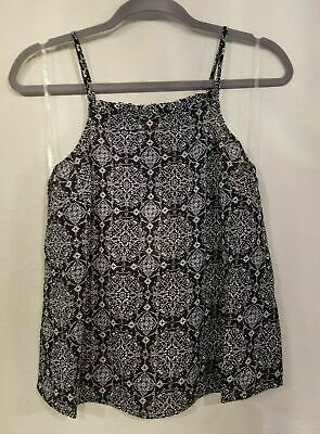 Women's Ruffle Trim Tank - Black White - LARGE - Univeral Thread #a79 Metallic Trim Tank
