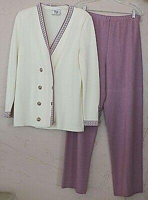 Mita Vintage Santana Knit Sz 12 Ivory Jacket & Mauve Pant Suit Acrylic Nylon USA