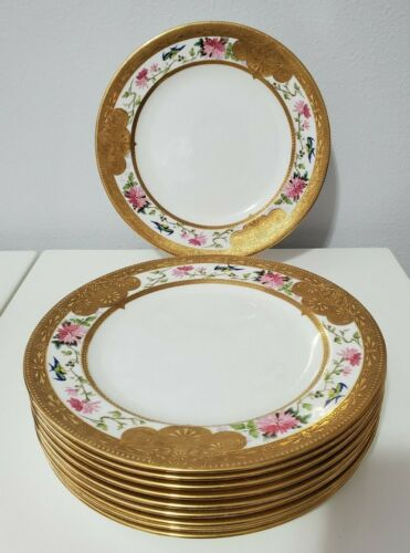 """Shelley Dinner Plates Gold and Roses 10.5""""-MINT 1910-1925"""