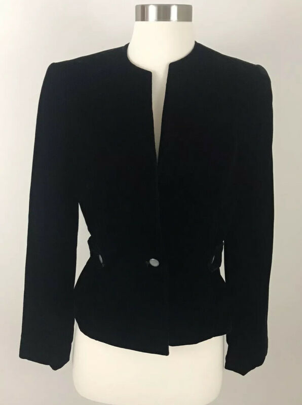 Nordstrom Vintage ILGWU Point of View Black Velour Dress Lined Jacket Size 4