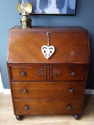 Vintage Oak Bureau With Drop Down Front.