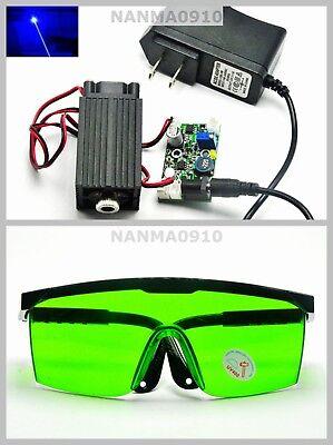 445nm 450nm Blue Dot Laser Module 80mw-100mw Diode W Adapter 405nm Goggles