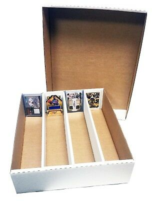 (2) MAX PRO 3200 COUNT 4 ROW TRADING CARD CARDBOARD STORAGE BOXES HALF LID