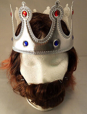 Silver Jeweled King Queen Crown with Gems Adult Size Renaissance