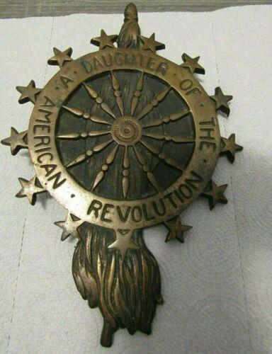 "VINTAGE 10"" DAUGHTERS OF THE AMERICAN REVOLUTION DAR BRONZE PLAQUE GRAVE MARKER"