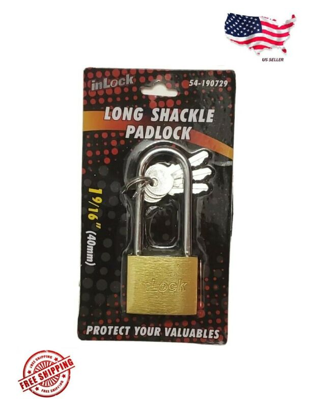"""InLock Security Solid Brass 1-9/16"""" (40mm) Long Shackle Padlock"""