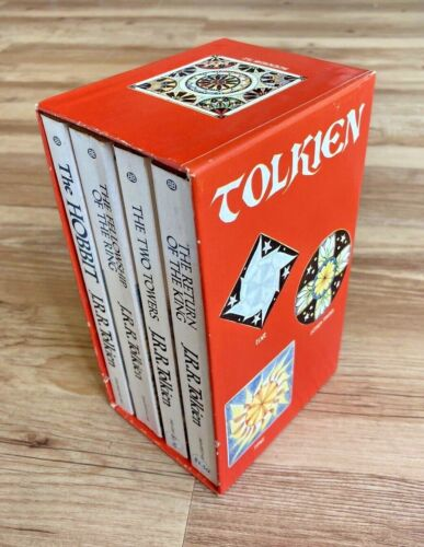 1974 J.R.R.Tolkien Hobbit & Lord of the Rings 4 Book Red Box Set Ballantine