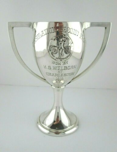 Antique 1915 Southern Robert Stoll Sterling Silver Golf Trophy Charleston SC