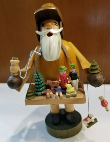 """The Toy Peddler"" Incense Smoker Handcrafted  Erzgebirge Germany KWO Toy Vendor"