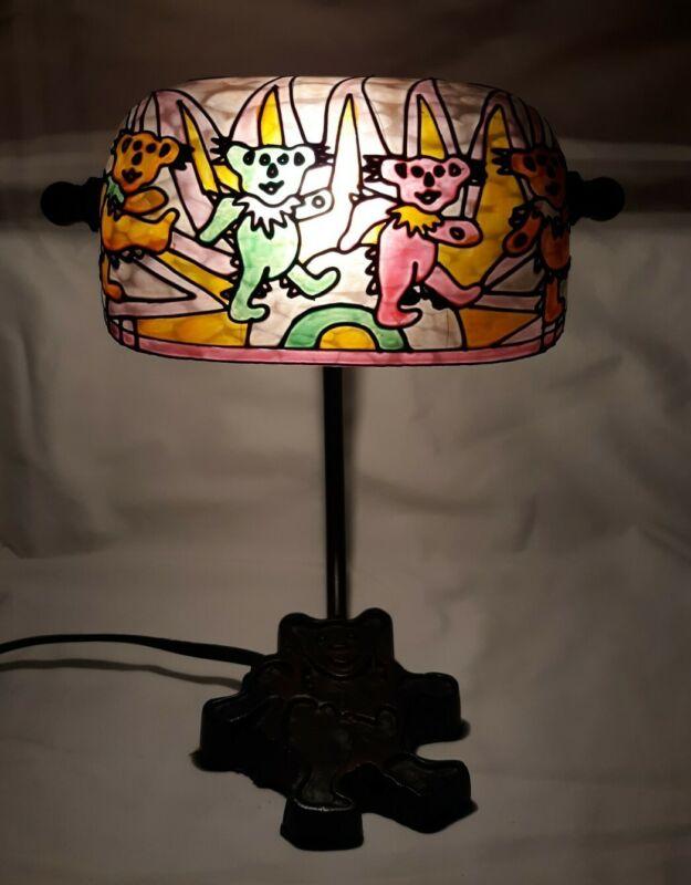 Grateful Dead DANCING BEARS Stain Glass Office Bank Table Lamp Desk Night Light