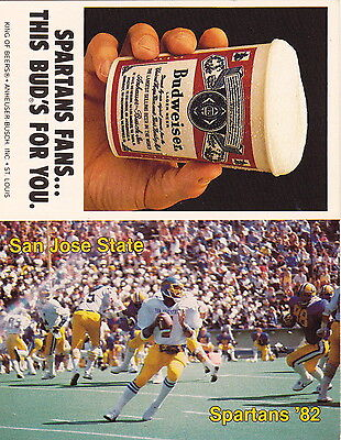 1982 SAN JOSE STATE SPARTANS FOOTBALL POCKET SCHEDULE - UNFOLDED