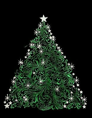 STAR Christmas Tree  EMBROIDERED QUILT BLOCK Beautiful ()