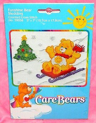 (New Care Bears Funshine Bear Sledding Counted Cross Stitch Kit Christmas Tree)