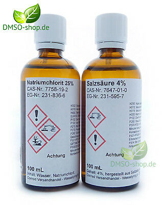 Natriumchlorit 25% + Salzsäure 4%, je 100 ml Braunglasflasche, Tropfer ()