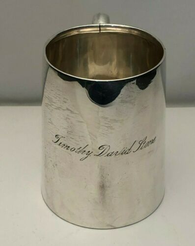 """Antique English Sterling Silver Drinking Mug Large 4 1/8"""" tall"""