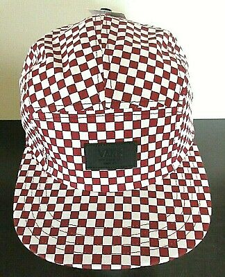 b4a00b6b787 Vans Shoes Mens Davis 5 panel Checkerboard Red Deathly white Strap back hat  cap NWT