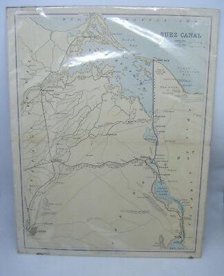 Antique Victorian circa 1880 Map of SUEZ CANAL by William Mackenzie