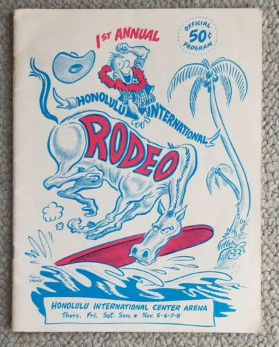 1964. 1st Annual Honolulu International Rodeo Program. Surfing Cowboy Cover RARE