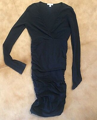 Standard James Perse • Women's Dress Ruching Long Sleeve Black V-Neck Size 1