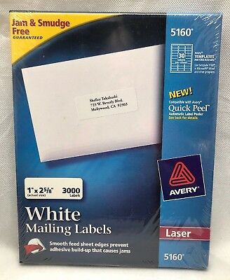 Avery 5160 Easy Peel 1 X 2 58 White Laser Address Labels 3000 Count Package
