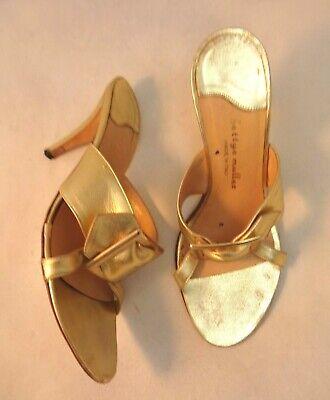 Buckle Mule Sandals (BETTYE MULLER 37.5 Gold Metallic Big Buckle Mule Sandals)
