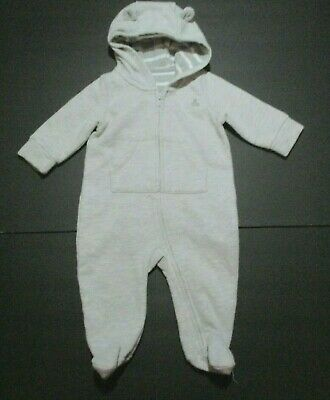 INFANT BOYS BABY GAP GRAY TEDDY BEAR JERSEY HOODIE FOOTIE OUTFIT SIZE 3-6 MONTHS - Teddy Bear Baby Outfit