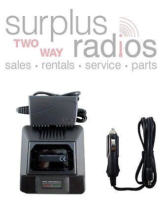Rapid Charger Car Acdc Kit For Motorola Gp300 P1225 P110 Gtx800 Gtx900 Gp350