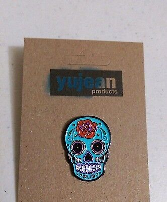 "ROSE SUGAR SKULL 1-1/4"" x 7/8"" Enamel Hat Backpack Pin (#1007) Sunny Buick"
