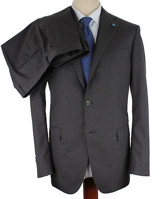 Nwt Eidos By Isaia Suit Wool Grey Burgundy Pinstripe Handmade Italy Eu 52 Us 42