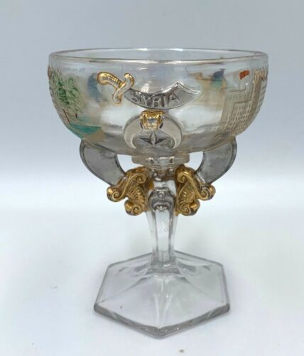 Antique 1911 Pgh  PA Masonic Syria Temple Shriner Rochester NY Goblet Glass