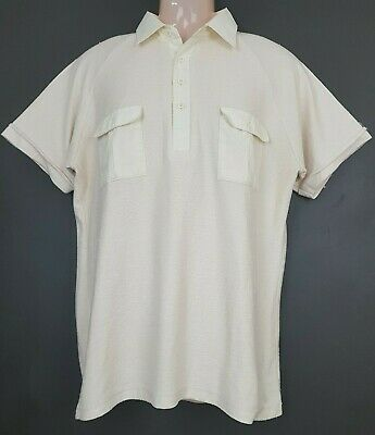 1970s Mens Shirt Styles – Vintage 70s Shirts for Guys French Accent true vintage mens polo shirt size OS 105cm 1970s $23.25 AT vintagedancer.com